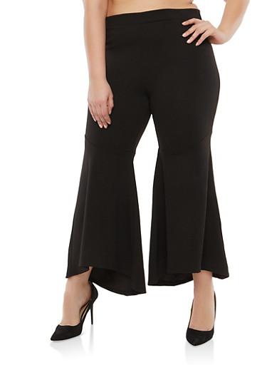 Plus Size Bell Bottom Pants,BLACK,large