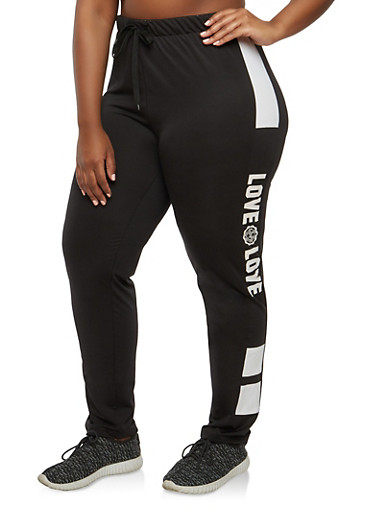 Plus Size Love Graphic Sweatpants,BLACK/WHITE,large