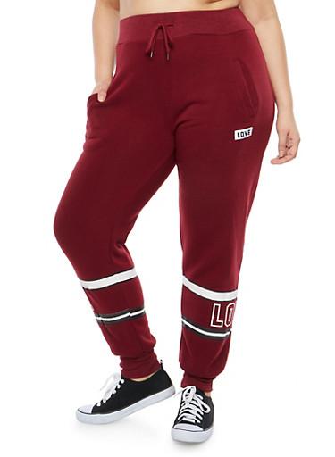 Plus Size Love Border Print Sweatpants,BURGUNDY,large