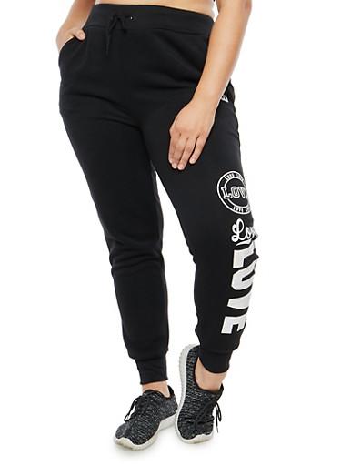 Plus Size Love Graphic Sweatpants,BLACK,large