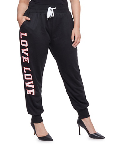 Plus Size Joggers with Love Graphic,BLACK,large