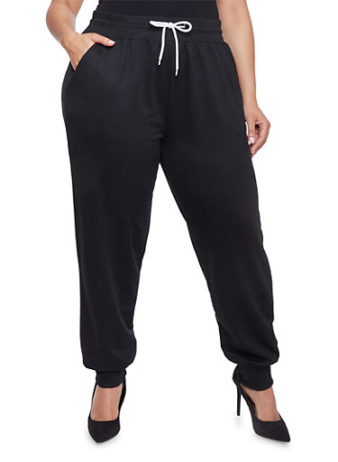 Plus Size Solid Joggers with Drawstring,BLACK,large