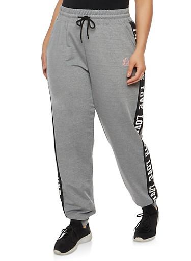 Plus Size Color Block Love Graphic Sweatpants,HEATHER BLACK,large