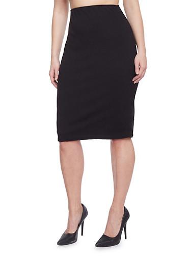 Plus Size Textured Midi Pencil Skirt,BLACK,large
