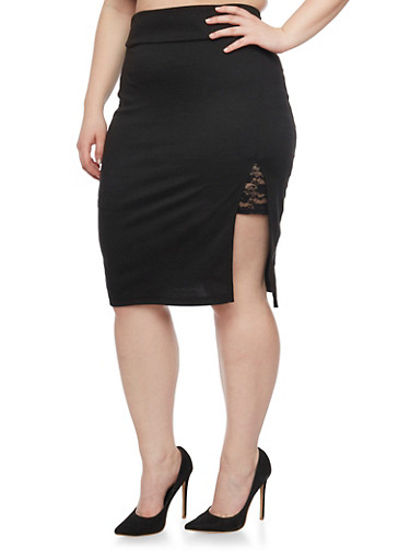 Plus Size Ponte Skirt with Lace Lined Front Slit,BLACK,large