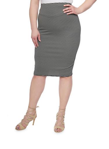 Plus Size Striped Pencil Skirt,BLACK,large