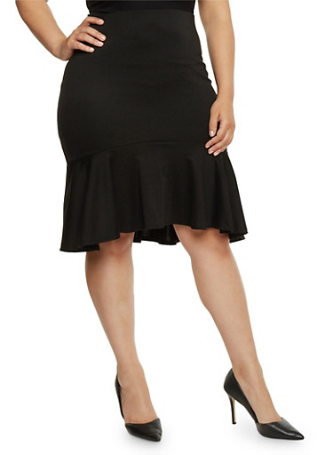 Plus Size Solid Pencil Skirt with Ruffle Hem,BLACK,large