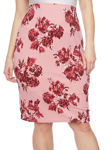 Plus Size Floral Pencil Skirt,MAUVE,large