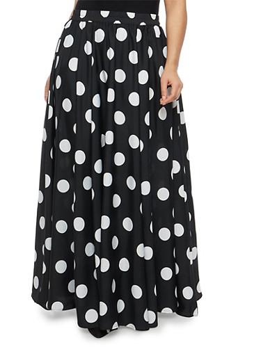 Plus Size Polka Dot Maxi Skirt,BLACK/WHITE,large