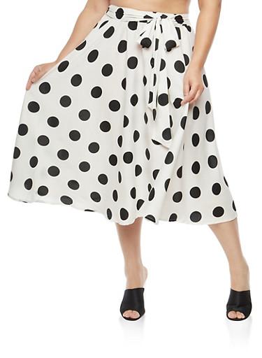 Plus Size Polka Dot Skater Skirt,WHITE BLACK,large