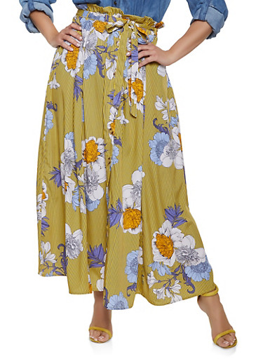 Plus Size Striped Floral Paper Bag Maxi Skirt