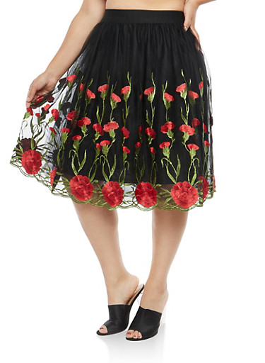 Plus Size Floral Embroidered Mesh Skirt,BLACK,large