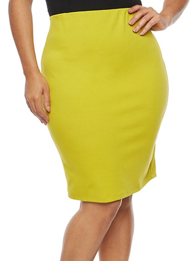 Plus Size Ponte Pencil Skirt,LIME,large