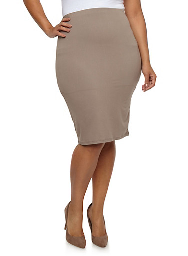 Plus Size Soft Knit Pencil Skirt,MUSHROOM,large