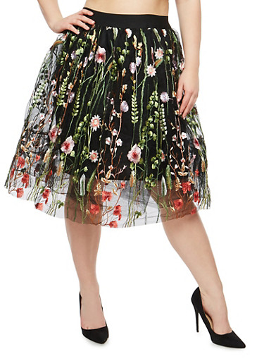 Plus Size Embroidered Tulle Skirt,BLACK,large