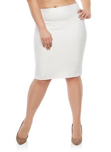 Plus Size Bandage Skirt,IVORY,large