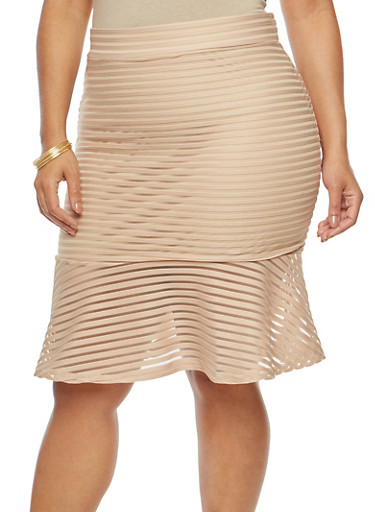 Plus Size Flounce Hem Skirt,KHAKI,large