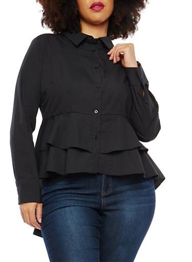 Plus Size Tiered Hem Button Front Shirt,BLACK,large