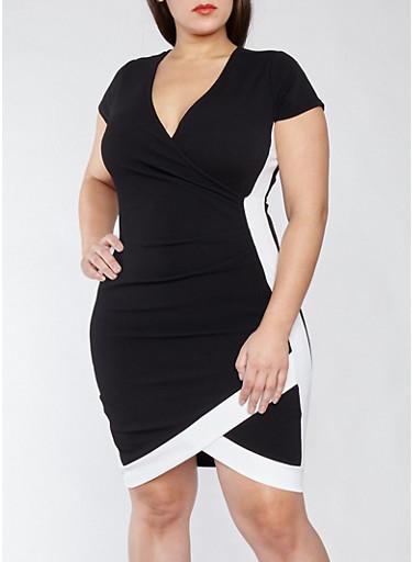 Plus Size V-Neck Bodycon Dress with Contrast Trim,BLACK/WHITE,large