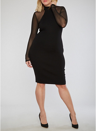 Plus Size Ribbed Knit Dress with Mesh Sleeves,BLACK,large