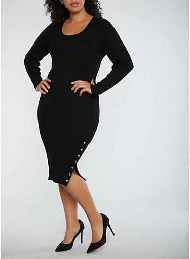 Plus Size Ribbed Knit Side Snap Midi Dress,BLACK,large