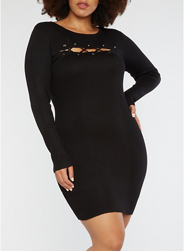 Plus Size Rib Knit Lace Up Bodycon Dress,BLACK,large