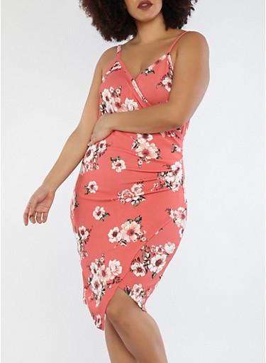 Plus Size Coral Floral Faux Wrap Dress,CORAL,large