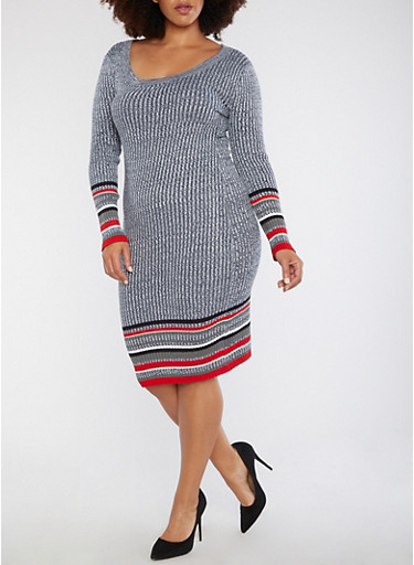 Plus Size Ribbed Border Print Sweater Dress,RED,large
