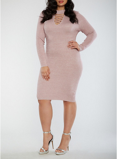 Plus Size Ribbed Caged Neck Glitter Dress,MAUVE,large