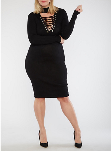 Plus Size Rib Knit Dress with Lace Up Detail,BLACK,large