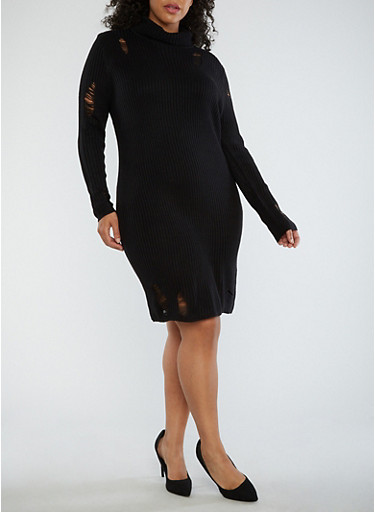 Plus Size Distressed Turtleneck Sweater Dress,BLACK,large