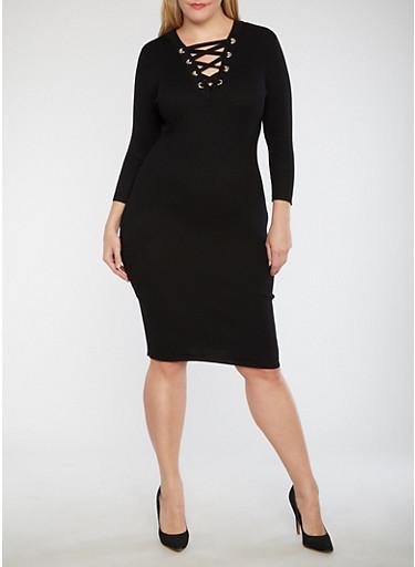 Plus Size Double Lace Up Bodycon Dress,BLACK,large