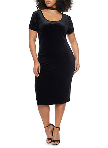 Plus Size Short Sleeve Velvet Bodycon Dress,BLACK,large
