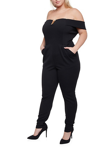 Plus Size Off the Shoulder Jumpsuit with Pockets,BLACK,large
