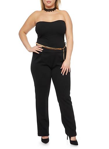 Plus Size Strapless Jumpsuit with Chainlink Belt,BLACK,large