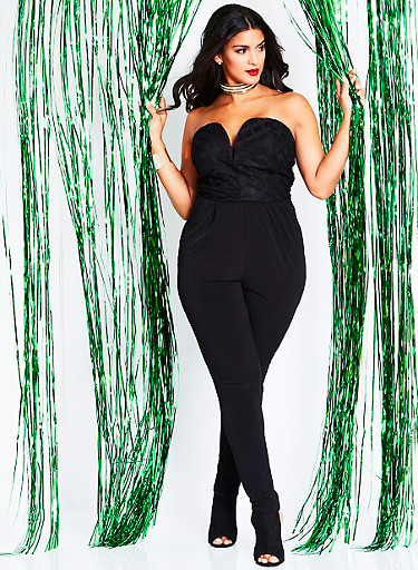 Plus Size Strapless Jumpsuit with Mesh Striped Bodice,BLACK,large