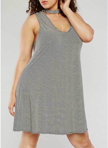 Plus Size Striped Choker Trapeze Dress,BLACK/WHITE,large