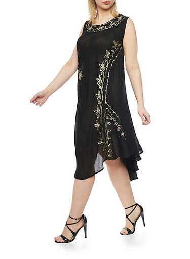 Plus Size Sleeveless Dress with Embroidery and Sequins,BLACK,large