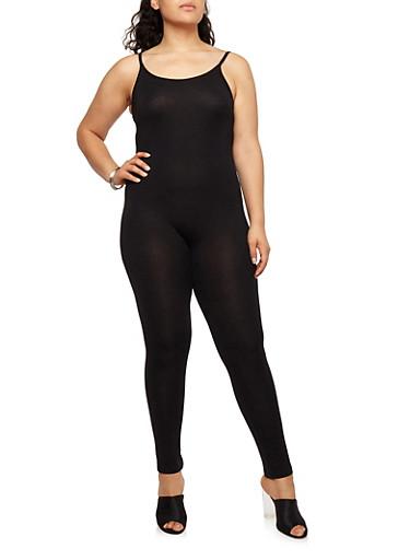 Plus Size Sleeveless Catsuit,BLACK,large