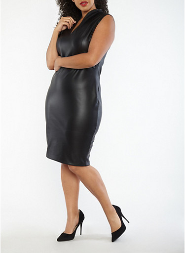 Plus Size Faux Leather Sheath Dress,BLACK,large