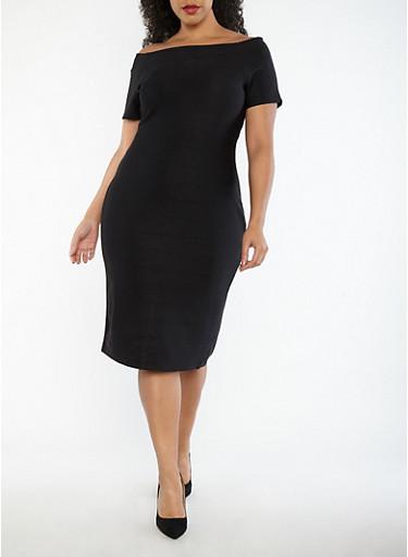 Plus Size Off the Shoulder Bandage Dress,BLACK,large