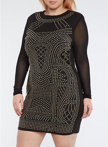 Plus Size Studded Mesh Sleeve Dress,BLACK,large