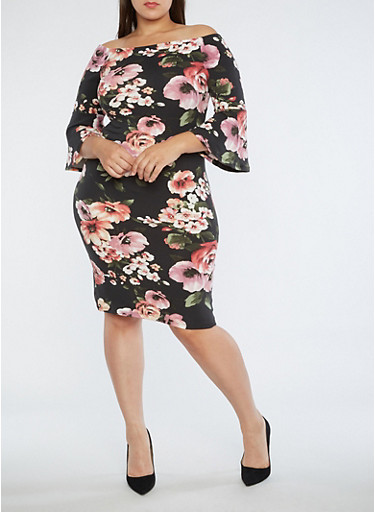 Plus Size Off the Shoulder Floral Dress,BLACK,large