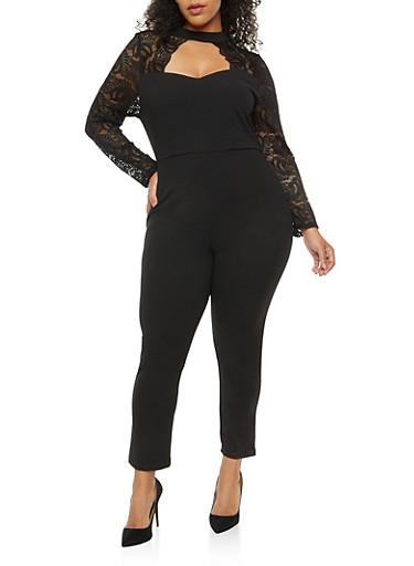 Plus Size Keyhole Lace Sleeve Jumpsuit,BLACK,large