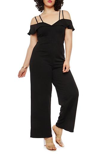 Plus Size Crepe Knit Off the Shoulder Jumpsuit,BLACK,large