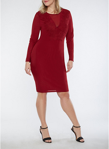 Plus Size Mesh Floral Applique Dress,BURGUNDY,large