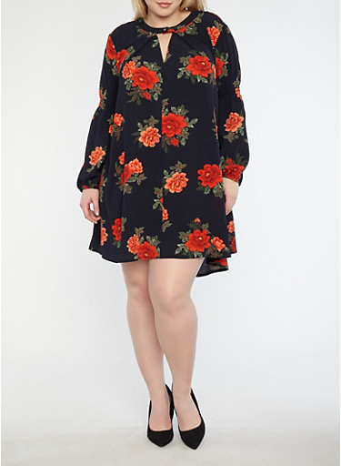Plus Size Floral Shift Dress,NAVY,large