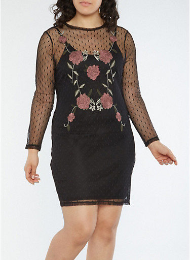 Plus Size Floral Embroidered Mesh Dress,BLACK,large