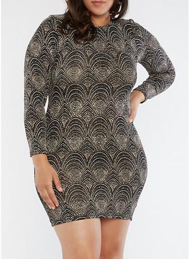 Plus Size Caged Open Back Glitter Knit Dress,GOLD,large