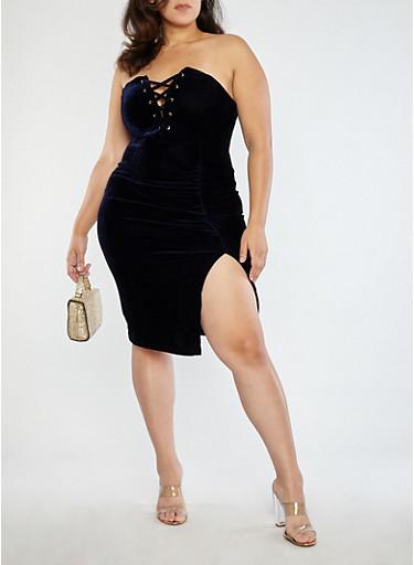 Plus Size Velvet Lace Up Tube Dress,NAVY,large